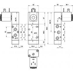 Electroventil 5/2, monostabil, actionat electric cu 1 bobina la 90 pe laterala, revenire arc