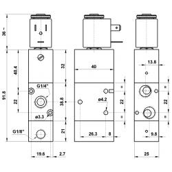 Electroventil 3/2, bistabil, actionat electric, revenire pneumatica