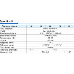 TR Ø16 Cilindru Pneumatic Antirotatie Cu Dubla Actiune, Franare Si Magnet