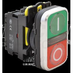 NYG3-DL1 Buton dublu pornit-oprit, iluminat, verde + roşu, I/O