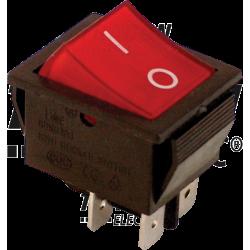 TES-42 Întrerupător aparate,P-O, 2 poli,roşu-iluminat,(marcaj 0-I)