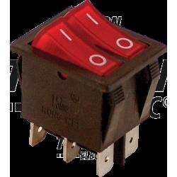 TES-43 Întrerupător pentru aparate,P-O,2 circuite,roşu,(marcaj 0-I)