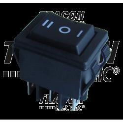 TES-52-2  Comutator aparate,cu revenire,3 poziţii, 2P, negru,(marcaj I-0-II)