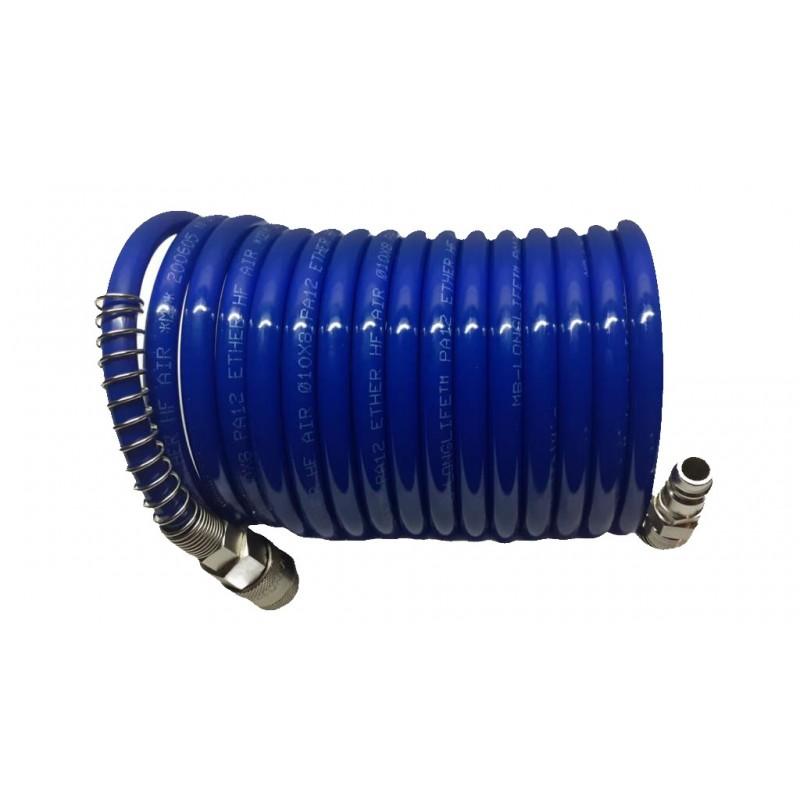 Furtun spiralat albastru PA poliamida