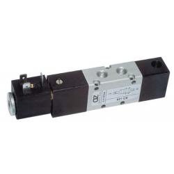 Electroventil 5/2, bistabil, actionat electric cu 1 bobina, revenire pneumatica