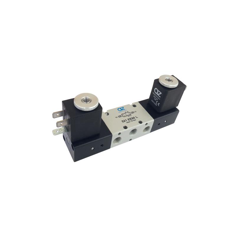 Electroventil 5/2, bistabil, actionat electric cu 2 bobine la 90