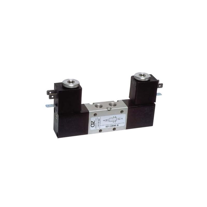 Electroventil 5/2, bistabil, actionat electric cu 2 bobine la 90 pe laterala