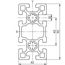 Profil Aluminiu 45X90 Canal 10 Tip Bosch